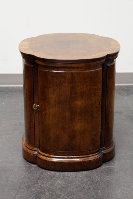 HENREDON Clover Shaped Walnut End Side Accent Table Cabinet
