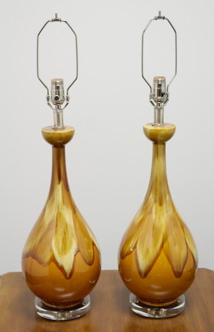 Mid Century Orange Drip-Glaze Ceramic Lamps - Refurbished - Pair