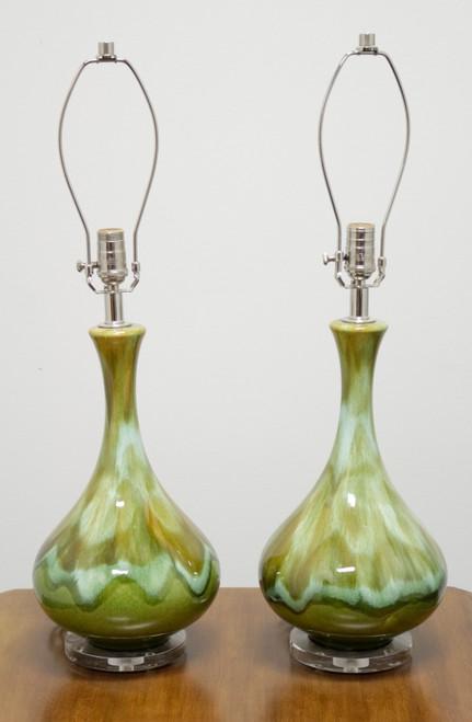 Mid Century Green Drip-Glaze Ceramic Lamps - Refurbished - Pair