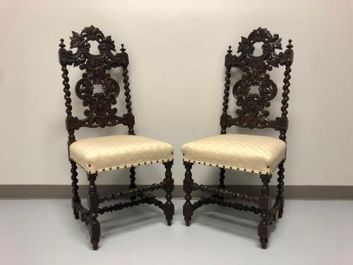 Antique 19th Century Jacobean Revival Barley Twist Chairs - Pair A