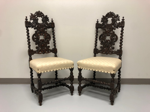 Antique 19th Century Jacobean Revival Barley Twist Chairs - Pair B