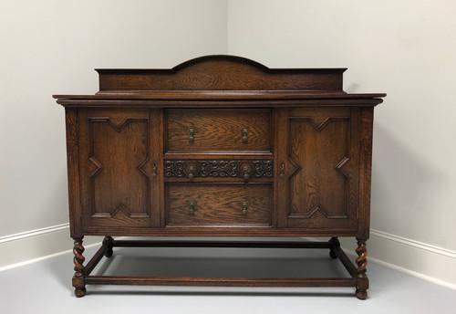 Antique Jacobean Revival Tiger Oak Barley Twist Sideboard