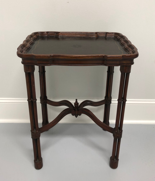 SOLD - MAITLAND SMITH Faux Bamboo Tooled Leather Accent Table