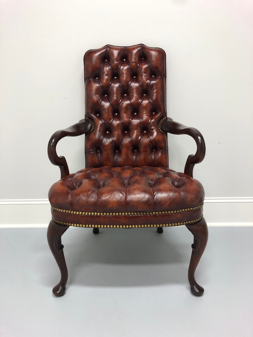 HICKORY CHAIR Tufted Leather Queen Anne Style Chair