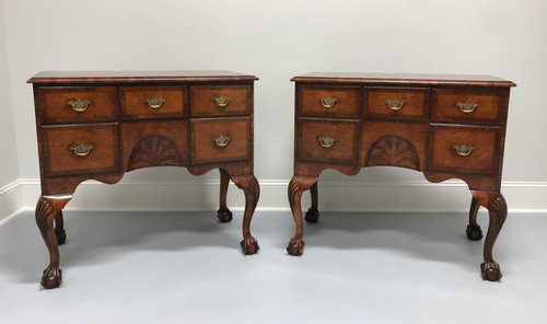A Fine Pair of English Inlaid Burl Walnut Chippendale Lowboy Chests