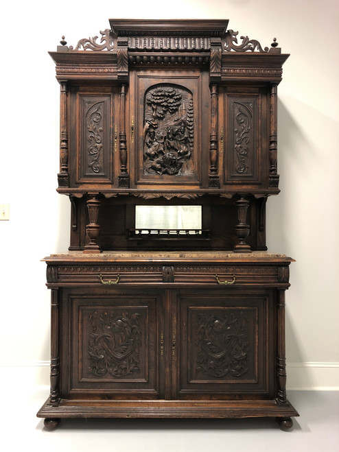 Antique 19th Century French Carved Oak Buffet a Deux Corps