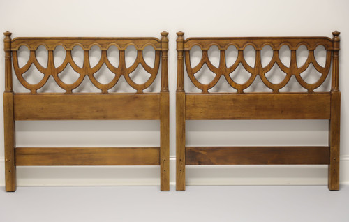 HENREDON French Provincial Louis XVI Pecan Twin Headboards - Pair