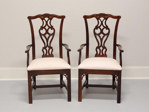 THOMASVILLE Chippendale Mahogany Straight Leg Dining Armchairs - Pair