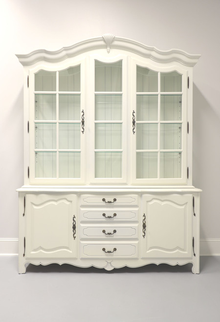 ETHAN ALLEN French Country Ivory Painted China Cabinet