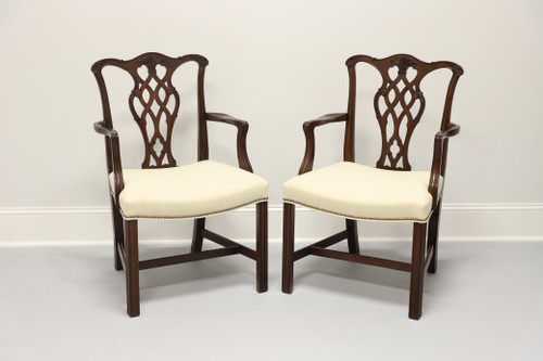 Vintage Chippendale Style Mahogany Straight Leg Dining Armchairs - Pair