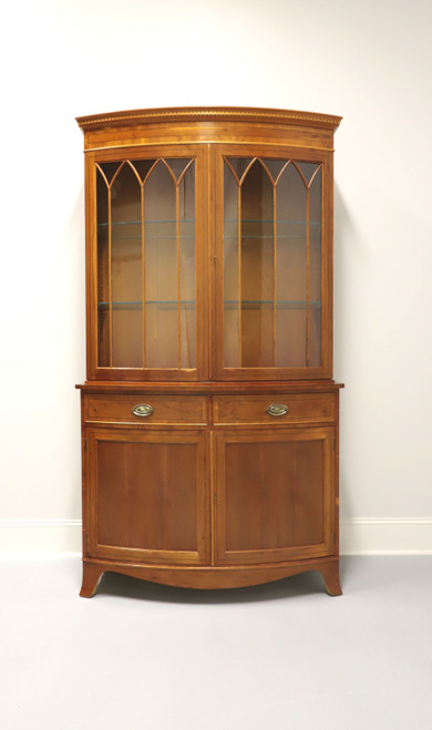 Vintage 20th Century Georgian Yew Wood Bow Front China Cabinet