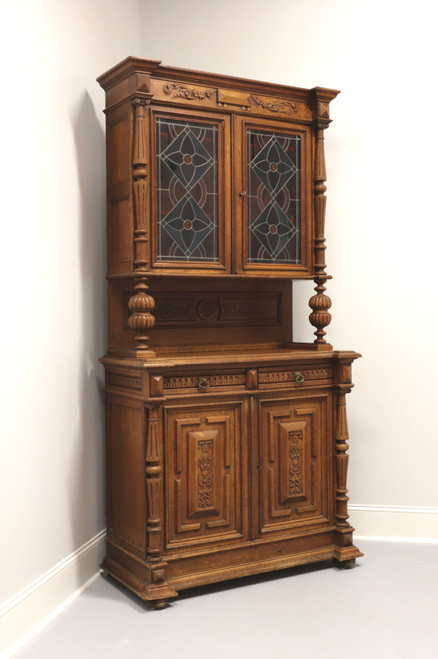 Antique Circa 1900 Jacobean Carved Oak Step Back Cupboard with Stained Glass Doors