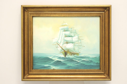 Mid 20th Century Oil on Canvas Painting of a Schooner at Full Sail Signed Woolf