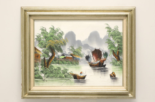 Mid 20th Century Oil on Canvas Painting of an Asian River Scene Signed Tang