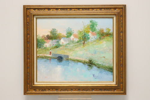 20th Century Original Oil Painting - Lake & Landscape Signed Manol