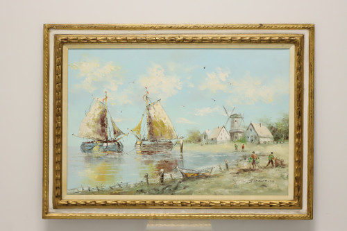 20th Century Original Oil Painting - Sailboats & Windmills Signed Zimmermann