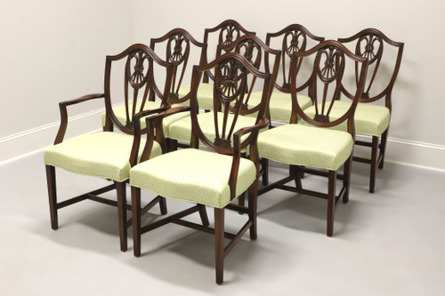 Vintage Mahogany Hepplewhite Dining Chairs w/ Prince Of Wales Plumes - Set of 8