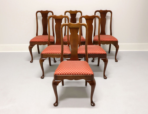 STICKLEY Solid Cherry Queen Anne Style Dining Side Chairs - Set of 6