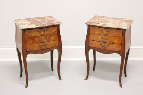 Antique French Louis XV Inlaid Marquetry Marble Top Side Tables - Pair