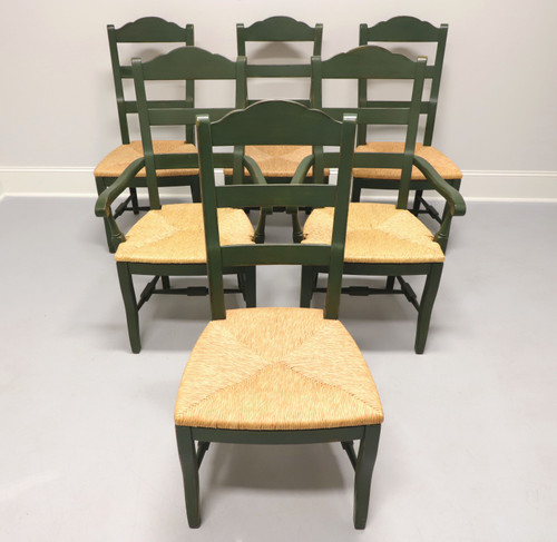 DREXEL HERITAGE Cottage Style Dining Chairs Green with Rush Seats - Set of 6