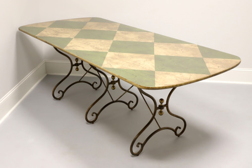 DREXEL HERITAGE Cottage Style Faux Marble Dining Table with Metal Base