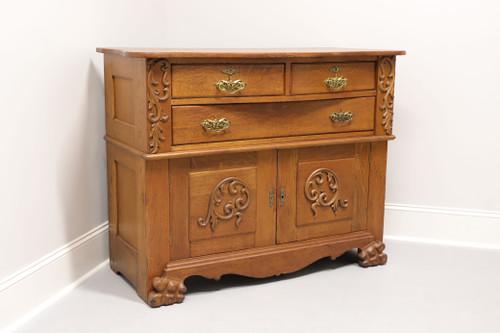 Circa 1900 Antique Quartersawn Tiger Oak Sideboard Buffet