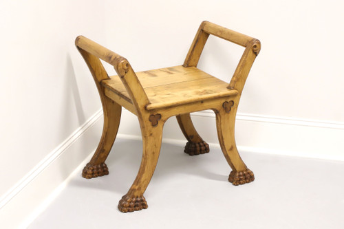 Transitional Style Pine Curule Bench w/ Hairy Paw Feet