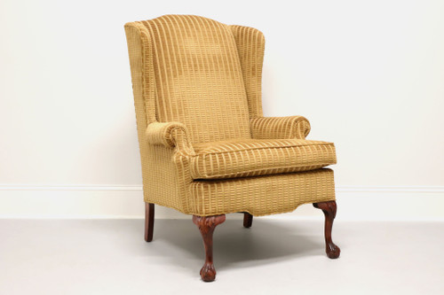 Vintage Chippendale Style Wing Back Chair with Ball in Claw Feet
