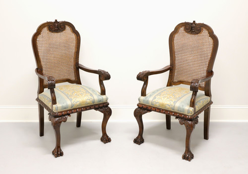 Antique Chippendale Style Carved Cane Back Open Armchairs - Pair