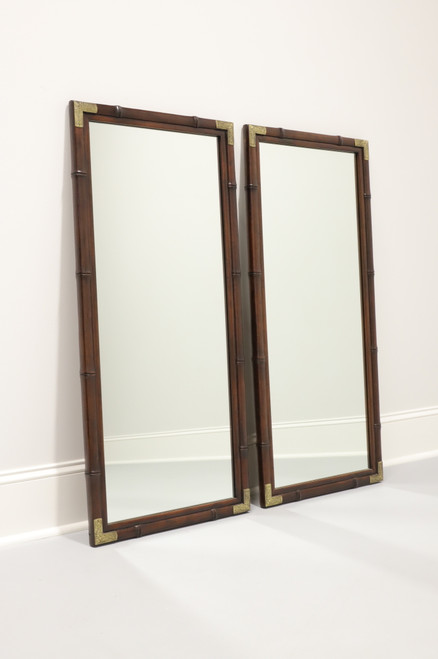 HENREDON Asian Japanese Tansu Campaign Style Faux Bamboo Mirrors - Pair