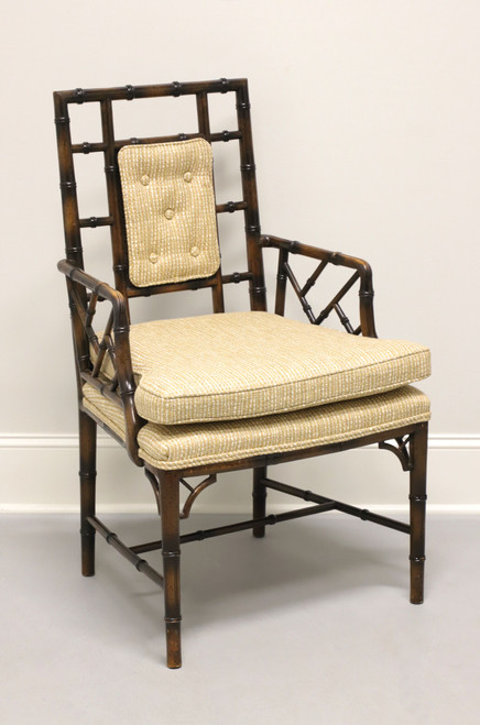 Vintage Chinoiserie Faux Bamboo & Cane Armchair