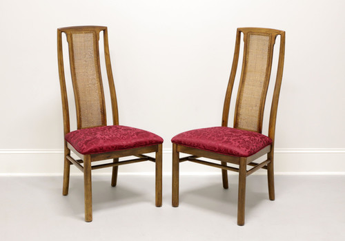 DREXEL HERITAGE Campaign Style Dining Side Chairs w/ Caned Backs - Pair A