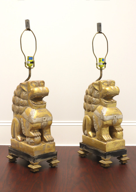 Large Vintage Foo Dog / Guardian Lion Lamps - Pair