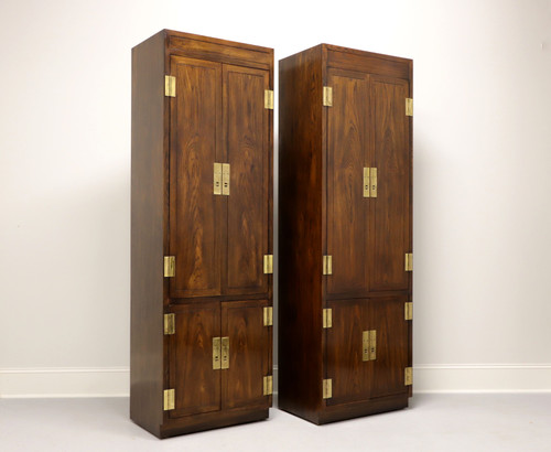 HENREDON Scene One Campaign Style Armoire Cabinets - Pair