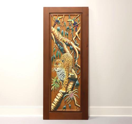 Hand Carved & Painted Honduras Mahogany Door / Panel - Jaguar & Toucans