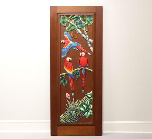 Hand Carved & Painted Honduras Mahogany Door / Panel - Red Parrots