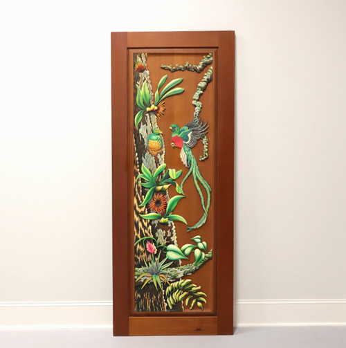 Hand Carved & Painted Honduras Mahogany Door / Panel - Tropical Foliage & Birds