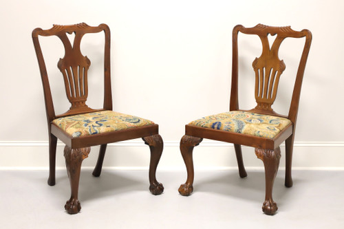 Antique 19th Century Carved Walnut Chippendale Ball n Claw Dining Side Chairs - Pair