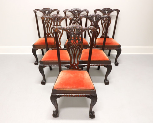 Antique 19th Century Mahogany English Chippendale Dining Chairs - Set of 6