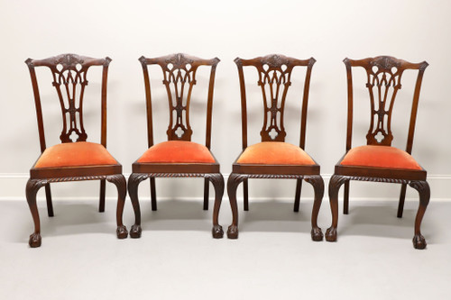 Antique 19th Century Mahogany English Chippendale Dining Chairs - Set of 4
