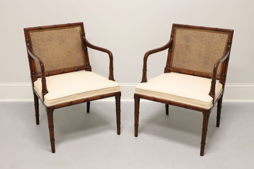 SOLD - Faux Bamboo Caned Back Armchairs - Pair