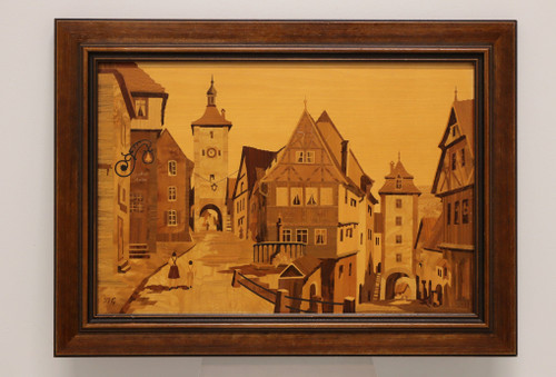 SOLD - Buchschmid & Gretaux Bavarian Village Inlaid Wood Marquetry Art