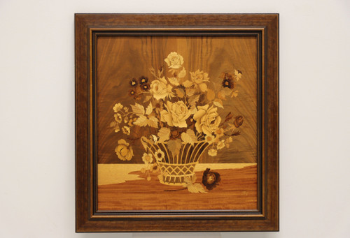 SOLD - Buchschmid & Gretaux Flower Bouquet Inlaid Wood Marquetry Art
