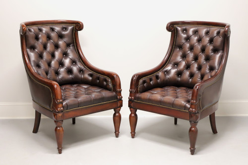 Hooker Seven Seas Transitional Style Mahogany & Tufted Leather Club Chairs - Pair