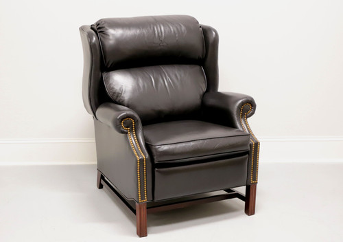 SHERRILL Chippendale Style Cambridge Black Leather Recliner