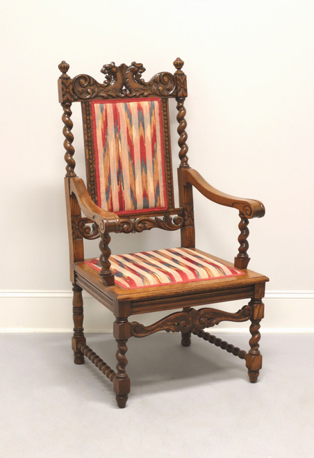 Antique Jacobean Style Carved Oak Open Armchair