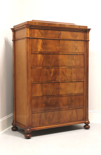 Antique Biedermeier Style Crotch Mahogany Tall Chest of Drawers