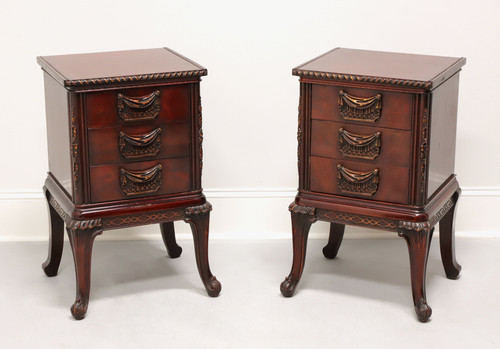 French Style Asian Influenced Carved Mahogany Nightstands - Pair