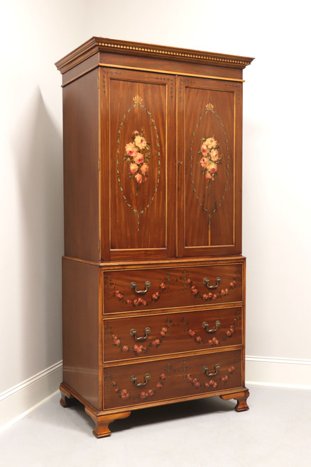 Antique Walnut Chippendale Hand Decorated Linen Press