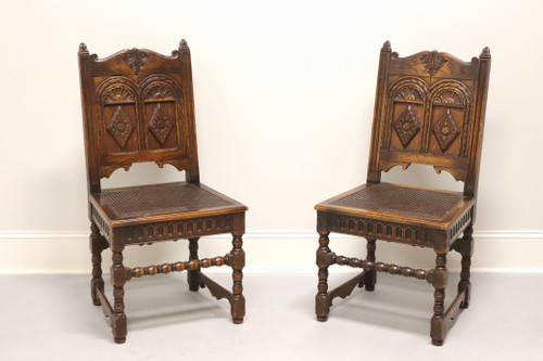 Gothic Revival Carved Oak Accent Chairs with Cane Seats - Pair